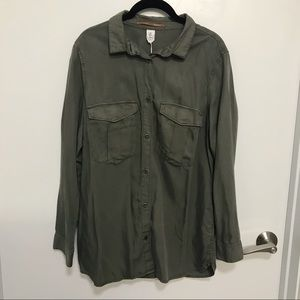 H&M Army Green Cotton Button-Down Shirt